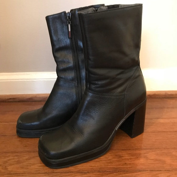 7ae19456860 Tommy Hilfiger vintage 90s chunky heel black boots